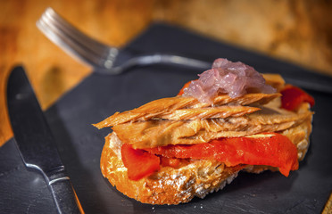 Spanish pintxo or pincho, montadito and tapas, from Basque Count