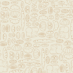 Vector pattern with cartoon bakery products
