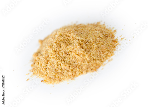 Pile of blended ground flax seeds powder - 71909867