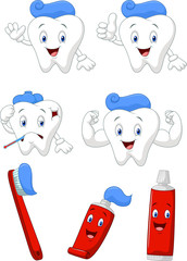 Tooth, brush and tooth paste cartoon character collection