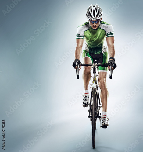 Poster, Tablou Isolated athletic cyclist. Sport