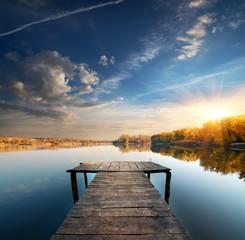 Pier on a calm river