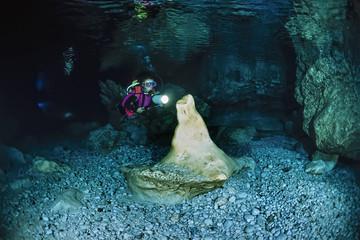 Italy, Marina di Camerota, cave diving, Alabaster Cave