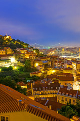 The lights of Lisbon in Portugal