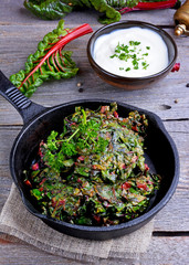 Chard pancakes in pan