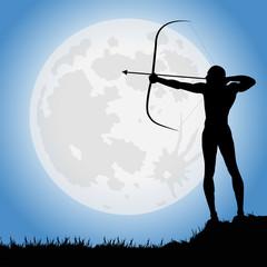 arciere sotto la luna piena