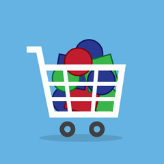 Shopping cart full of different colored objects