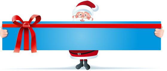 Santa mit Riesenschild mit Schleife