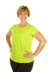 Middle Age Woman in Workout Clothes on a White Background