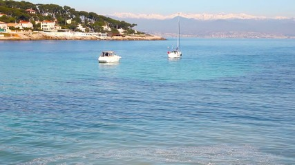 Boats in a beach in Antibes, Cote d'Azur, France