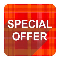 special offer red flat icon isolated