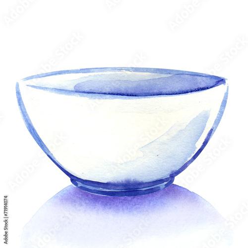 Leinwandbild Motiv Empty white bowl isolated