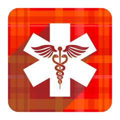 emergency red flat icon isolated