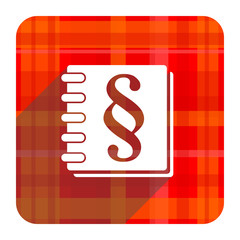 law red flat icon isolated