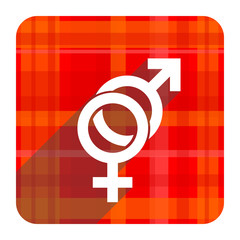 sex red flat icon isolated