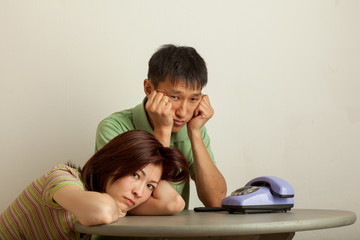 couple expecting a phone call