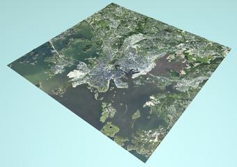 Vista satellitare di Helsinki, Finlandia, mappa, sezione 3d
