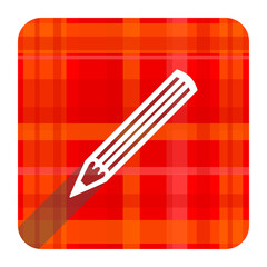 pencil red flat icon isolated