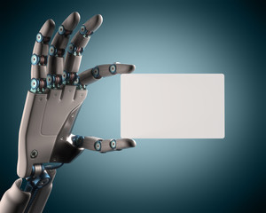 Blank card robot. Clipping path included.