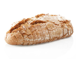 German Cracked Bread Isolated on White Background