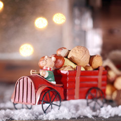 Wooden Christmas truck with nuts