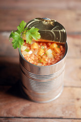 Opened can of lentil vegetable soup