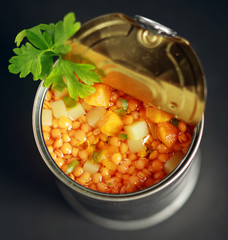 Canned lentil and mixed vegetable soup
