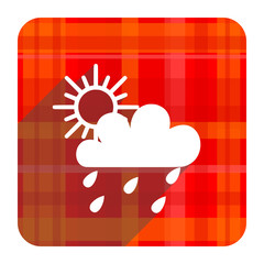 rain red flat icon isolated