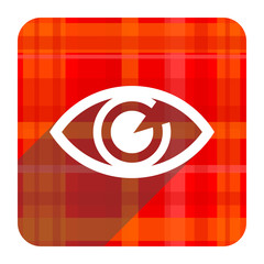 eye red flat icon isolated