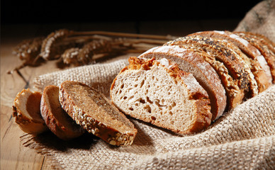 Rustic background of assorted rye bread