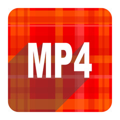 mp4 red flat icon isolated