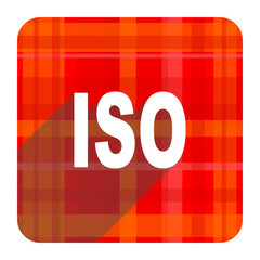 iso red flat icon isolated