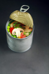 Fresh Vegetables on Open Thin Can
