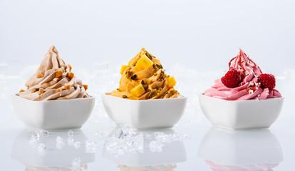 Assorted Flavor Frozen Yogurts on White Bowl