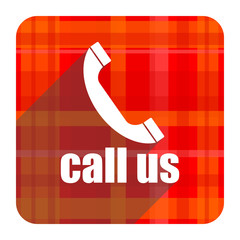 call us red flat icon isolated