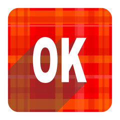 ok red flat icon isolated
