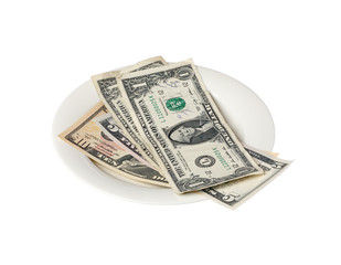 Dollars on a small plate