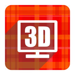 3d display red flat icon isolated