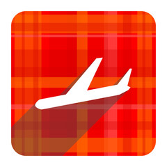 arrivals red flat icon isolated