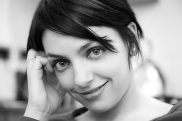 pretty brunette in black and white