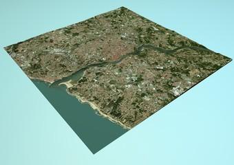 Vista satellitare di Oporto, Portogallo, mappa, sezione 3d