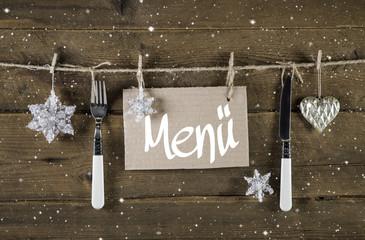 Speisekarte zur Weihnachtsfeier: Dekoration silber weihnachtlich
