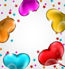 Collection glossy hearts balloons for Valentine Day