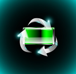 Green fully charged battery in recycle arrows