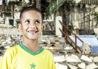 Little Brazilian boy smiling in Rio de Janeiro, Brazil.