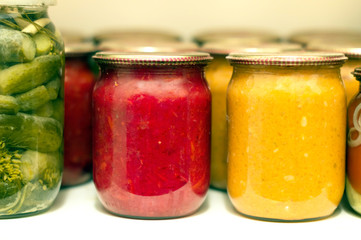 Various canning vegetables in glass jar