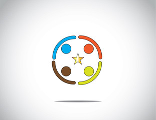 colorful team diverse people work success excellence golden star