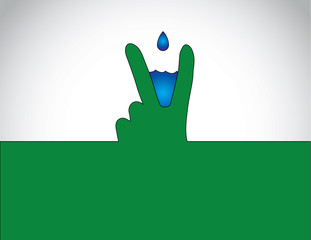 victory winning success hand gesture water droplet conservation