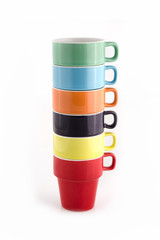Stack of Six Colorful Cups.
