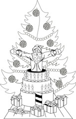 Santa Claus jump out of the cake
